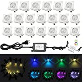 Low Voltage Deck Lighting, QACA 20pcs 0.1W~0.3W Multi-Color RGB LED Deck Lights Kit 1-3/5'' Stainless Steel Recessed Wood Outdoor Yard Garden Decoration Lamp Patio Stairs Landscape Step Lighting