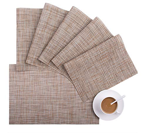 NINGXIN Table Runner and Placemats for Dining Table Woven Vinyl Washable Non-Slip Heat Resistant Kitchen Table Mats Easy to Clean