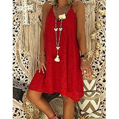 W-Fight Womens Summer Beach Lace Mini Dress Ladies Strappy V Neck Holiday Sundress Plus Size