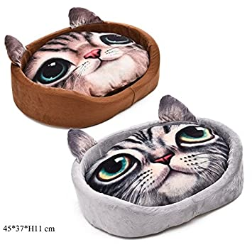 YongYeYaoBEN Lovely Dog Cat Cama para Mascotas con cojín extraíble (Color : Gray): Amazon.es: Productos para mascotas
