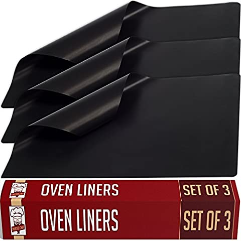 Large Non-Stick Oven Liners - Set of 3 - Master Chef Quality Kitchen Accessories For Home Cooks - Keeps Ovens Clean - Heavy Duty, Easy To Use, Versatile