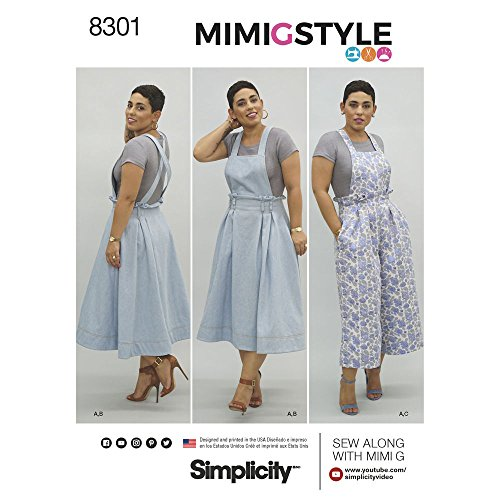 Simplicity Pattern 8301 H5 Mimi G Style Misses' Overalls and Knit Crop Top, Size 6-8-10-12-14