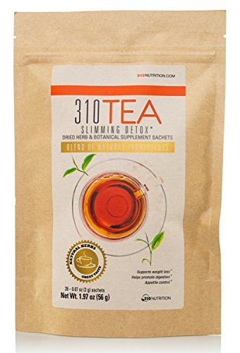 Detox Tea, 28 Servings | 310 Tea Fights Bloating and Appetite Suppressant, Increases Metabolism | Organic Green Tea with Yerba Mate, Guarana, Ginger, and Many More Cleansing Ingredients