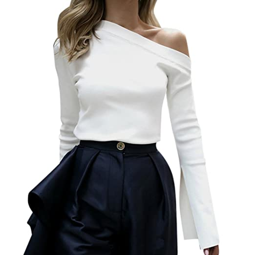 e76dab98b57f Han Shi Womens Blouse, Flare Long Sleeve Off Shoulder Sexy White Shirt Tank  Top at Amazon Women's Clothing store: