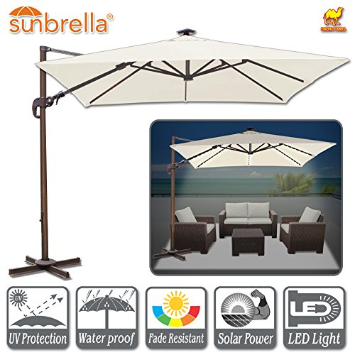 Strong Camel 10'x10' Deluxe Hanging Roma Umbrella Offset Umbrella UV50+ Tilt & 360 Degree Rotation Patio Heavyduty Cantilever Umbrella with Sunbrella Cover (Canvas - Bases Umbrella Concrete Heavy Duty