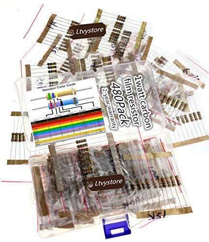 480Pcs 5/% 1W Carbon Resistors 1K-330K ohm 48 Values Assortment Kit