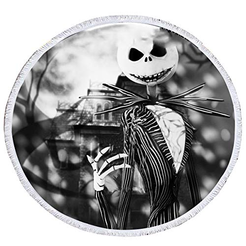 KTLRR Jack Skellington Beach Towels,Nightmare Before Christmas Microfiber Round Beach Towel with Tassels Camping Picnic Blanket Throw Tablecloth,Super Water Absorbent,Black and White (L, 59 inches)]()