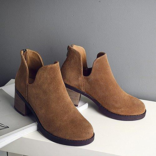 Rau Herbst Stiefel Leder Lässig Mit Khaki Mode Peeling Martin Stiefel Stiefel Nackten Frauen Schuhe qFvaqwf