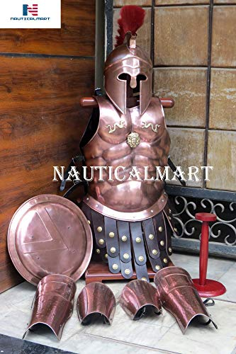 Medieval Copper Muscle Armor W/Corinthian Helmet Spartan Set W/Helmet Stand Leg Arm Guards -