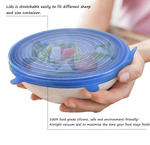 6 Packs Silicone Stretch Lids, Various Sizes Silicone Bowl Covers for Keeping Food Fresh
