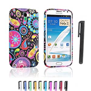 Einzige TPU Silcon Gel Skin Case Cover for Samsung Galaxy Note 2 with Colorful Jellyfish Design