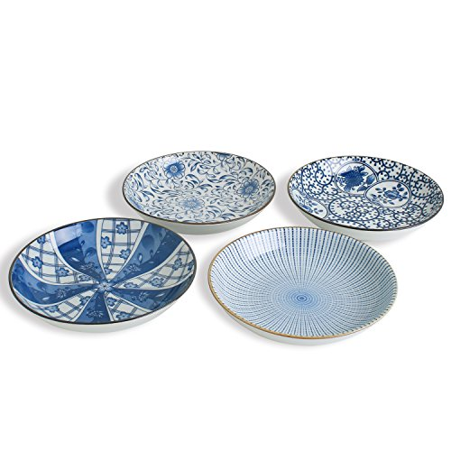 Porcelain Floral 7-inch Bread and Butter Plate Set, Salad/Dessert Plates Set of 4 , Assorted Blue and White Motifs (Ceramic Contemporary Floral)