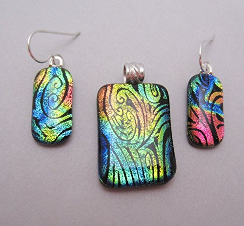 Sterling Silver fused dichroic glass pendant and earrings set. Multi-color swirl pattern glass Artisan made - ready to ship. (Dichroic Pendant)