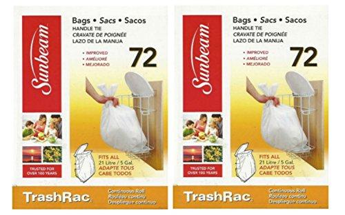 Sunbeam TrashRac 5 Gallon Refill Trash Bags Twin Pack 144 Count