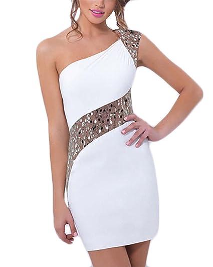 Vestidos De Noche Cortos Elegantes Fiesta Vestido Verano Vestido Coctel Mini Vestido One Casual Shoulder Sin Tirantes Espalda Descubierta Vestido Vestido De ...