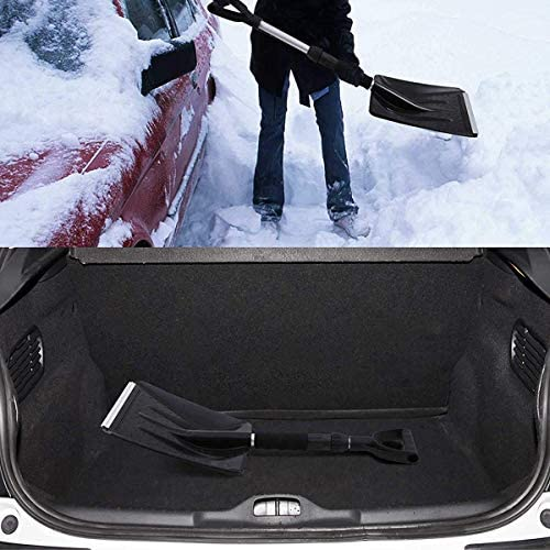 Snow Shovel Portable Shovel with Adjustable Handle and Durable Aluminum Edge Blade for Emergency, Car Truck Driveway, Camping, Home (Black)