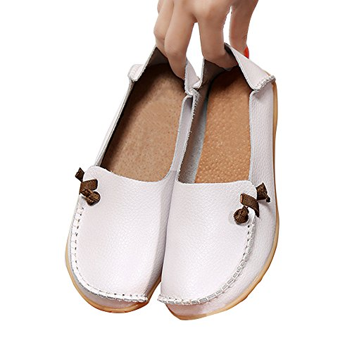 Blivener Womens Flat Shoes Casual Loafers Walking Comfort Summer Slippers White lmQ9r