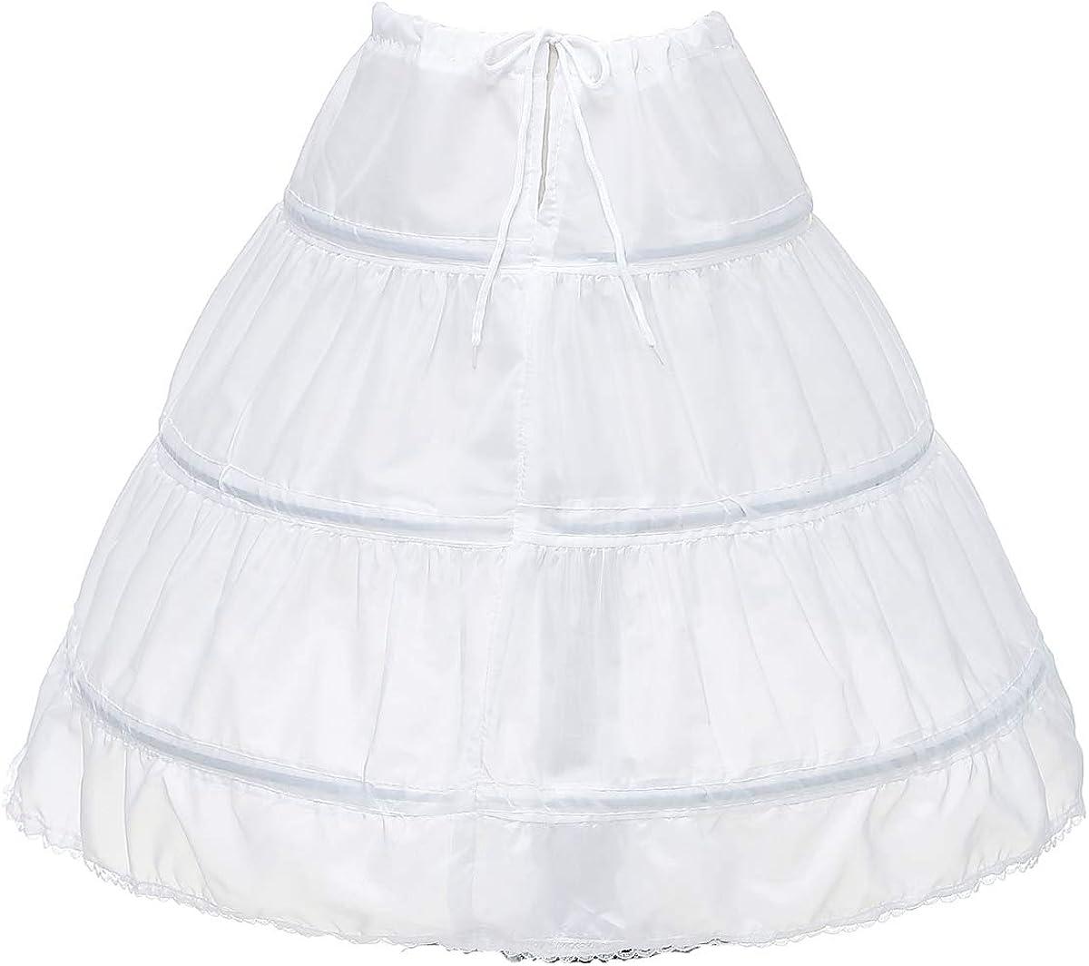 HDSLP Girls 3 Hoops Underskirt for Girls Full Slip Flower Girl Crinoline Skirt