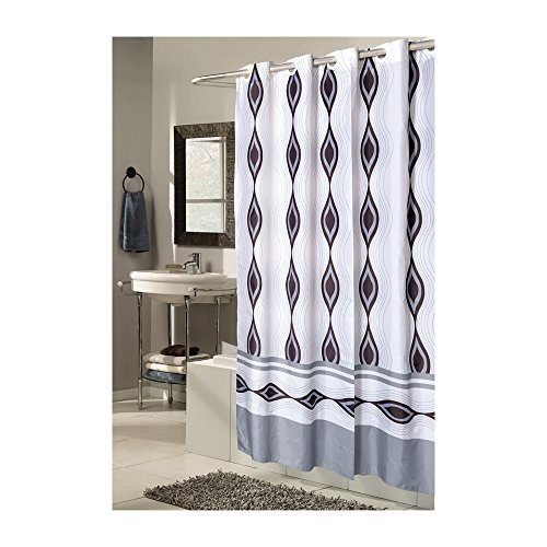 Ben&Jonah CHF-SCEZ-XW/HAR Park Avenue Delux Collection Extra Wide, EZ-ON Harlequin Polyester Shower Curtain, Multi