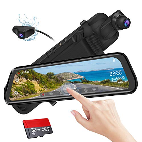 Mirror Dash Cam 9.88 inch Full Touch Screen Car Backup Camera Dual Recording HD Front 1080P 170° Wide Angle 1080P Rear View Camera 150° URVOLAX Night Vision,24-Hour Parking,GPS, SD Card