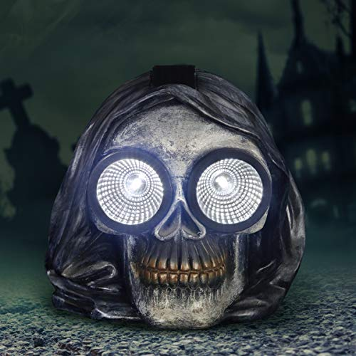 Grim Reaper Hooded Skull, Halloween Statue, LED Light Eyes, 7