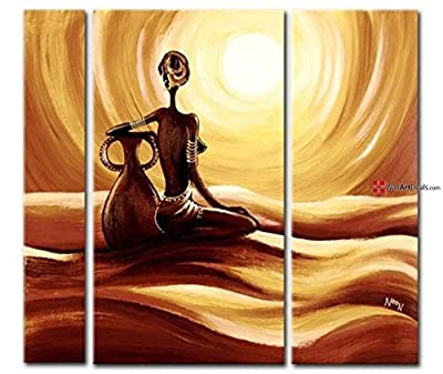 Framed Modern Gold African Tribal Woman Watching Sunset Wall Art Oil Painting 3 Piece