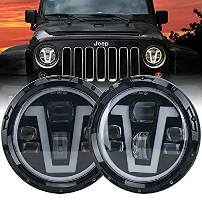 OVOTOR Jeep Headlights LED 7 inch with Halo Ring Amber Turn Signal Lights V Type White DRL Hi Lo Beam for Jeep Wrangler JK TJ LJ CJ Black