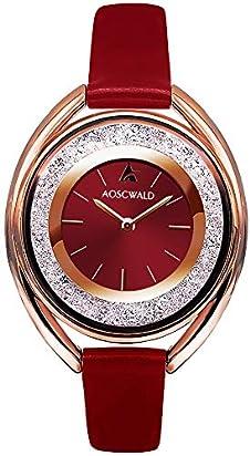 Rhinestone Waterproof Lady Quartz Watch Fashion Leather Women Watch Casual Ellipse Rose Gold Wrist Watch (Red) (red)