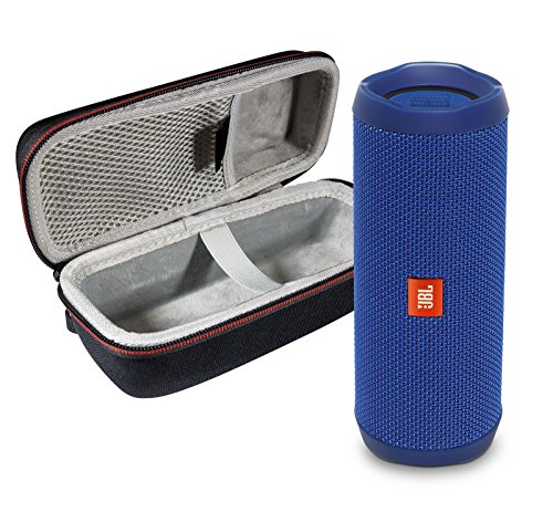 JBL Flip 4 Portable Bluetooth Wireless Speaker Bundle with Protective Travel Case - Blue ()