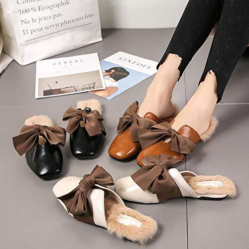 39 Knot Backless Blanc Femme Eu Comfort Noir Chaussures Casual Flats Zhrui coloré Ballet Taille 7CwqaS