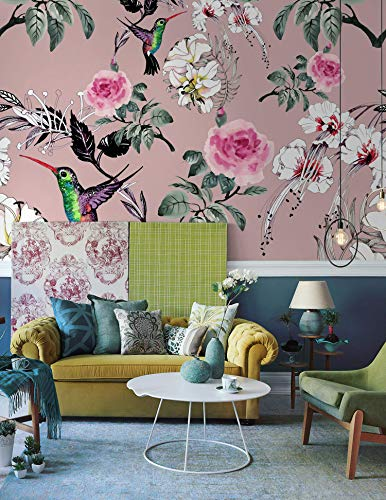 Murwall Floral Wallpaper Vintage Pink Roses Wall Mural Retro Flower Wall Print Colorful Birds Wall Art Nostalgic Home ()