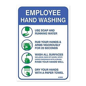 Los empleados cartel grande de lavado de manos, 10 x 7 ...