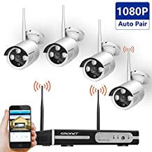[Full HD]Wireless Camera System,SMONET 4 Channel 1080P Wireless Video Surveillance System-4PCS 2.0MP Wireless Weatherproof IP Cameras,Plug and Play,65ft Night Vision,Easy Remote Review,No Hard Drive