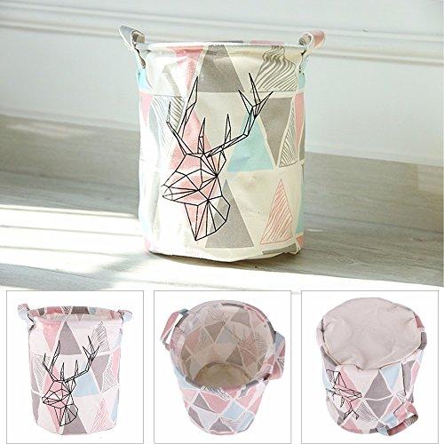 Laundry Bag Laundry Basket Retro Triangle&Deer Pattern Linen Desk Toy Storage Box Holder Laundry Basket With Handle #226347 - Laundry Hamper