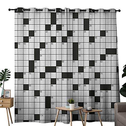 NUOMANAN Blackout Lined Curtains Word Search Puzzle,Classical Crossword Puzzle with Black and White Boxes and Numbers, Black and White,Thermal Insulated,Grommet Curtain Panel Set of 2 54