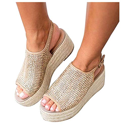 Cenglings Women's Platform Sandals, Sexy Fish Mouth High Heel Espadrilles Sandals Casual Roman Shoes Slingback Wedge Shoes Beige
