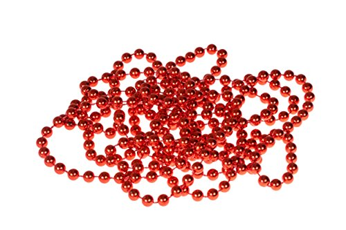 (Clever Creations Red Bead Style Christmas Garland Shiny 8mm Shatterproof Bead Garland | Classic Traditional Christmas Theme | Festive Holiday Décor | Measures 2.7m (9') Long)