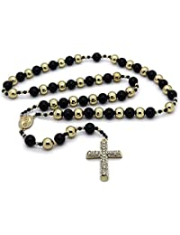 """Mens Hip Hop 15mm Gold & Black Tone 32"""" Beaded Chain Rosary Guadalupe & Jesus Cross Necklace"""