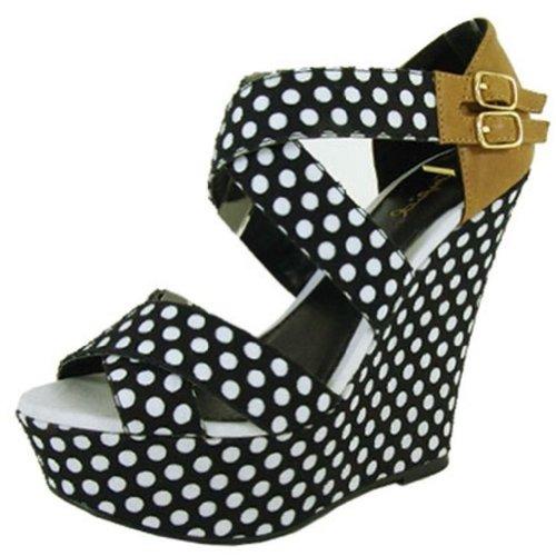 1a9f12fe3af1 Qupid Women s Finder Open Toe Wedge Sandals