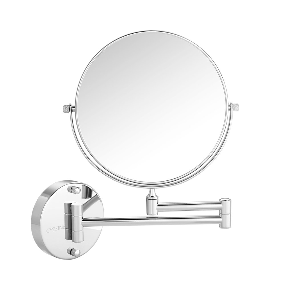 Cozzine Wall Mount Makeup Mirror, 10x Magnifying Two Side Vanity Extendable Bathroom Mirror, Chrome Finish