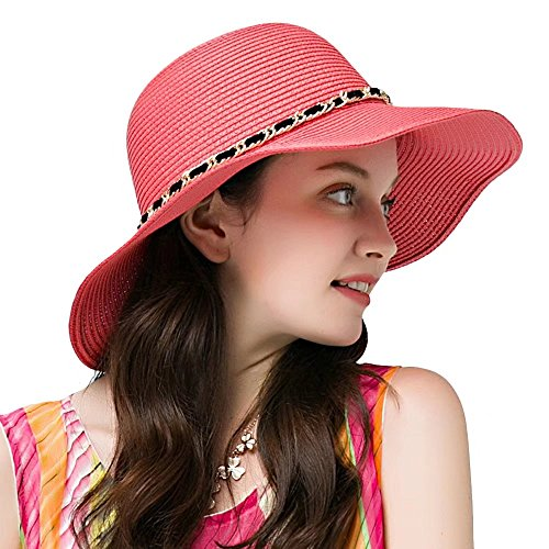 Promini Women Floppy Hat Bowknot Straw Hat Wide Brim Beach Hat Foldable Sun Hat UPF 50+