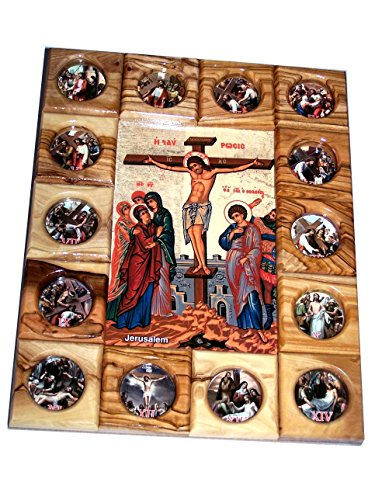 Holy Land Market Crucifixion with Stations of The Cross Icon Plaque All in Olive Wood from Bethlehem (29 x 24 cm or 11.5 x 9.5 inches)