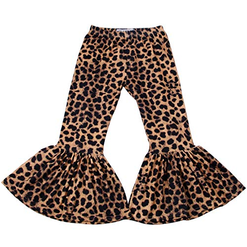 QLIyang Girls Ruffle Leggings Leopard Print Bell Bottoms Flare Pants 6T Black ()