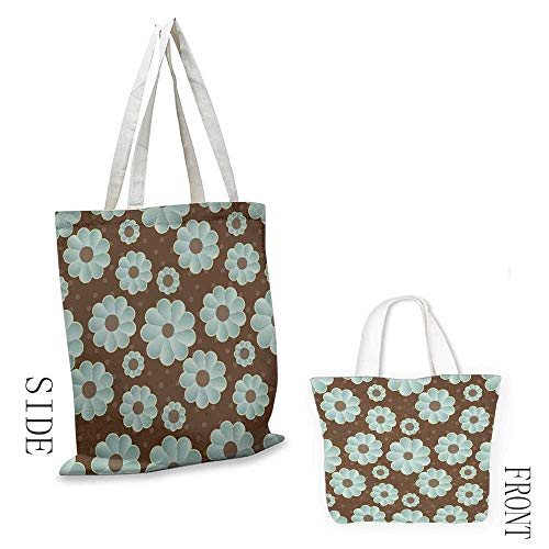 Craft canvas bag Brown and Blue Retro Daisy Pattern with Polka Dot Background Abstract Design Daily wallet handbag 16.5