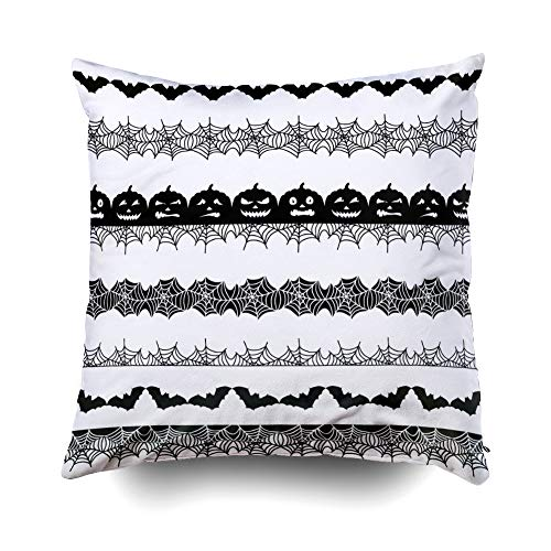 EMMTEEY Home Decor Throw Pillowcase for Sofa Cushion Cover,Halloween Halloween Border Decorative Square Accent Zippered and Double Sided Printing Pillow Case Covers 18X18Inch -