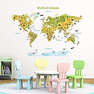 DECOWALL DLT-1816 Mundo de los animales Vinilo Pegatinas Decorativas Adhesiva Pared Dormitorio Salón Guardería Habitación Infantiles Niños Bebés
