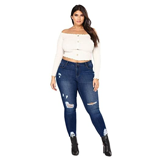 a6af8668a3276 Creazrise Women's Plus Size Cutoff Jeans Ladies Ripped Skinny Jeans  Distressed Denim Pants (Dark Blue, 6XL) at Amazon Women's Jeans store
