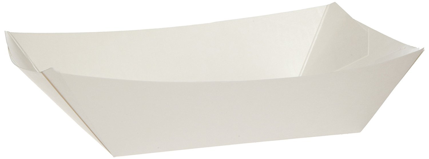 Paper Food Trays 5 LB, White, Compostable, Great for Picnics, Carnivals, Nachos, Fries (250 Trays) - Econoly (White, 5 LB)