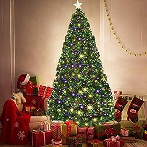 Goplus Artificial Christmas Tree Pre-Lit Optical Fiber Tree 8 Flash Modes W/UL Certified Warm White Electrodeless LED Lights & Metal Stand 2