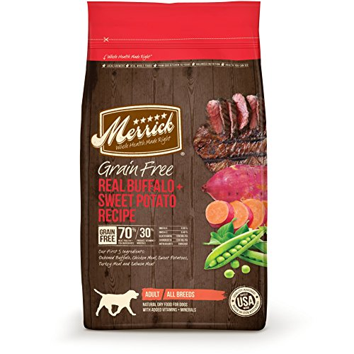 Merrick Grain Free Real Buffalo + Sweet Potato Recipe Dry Dog Food, 25-Pound